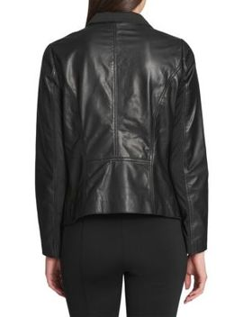 Leather Open Front Jacket by Donna Karan