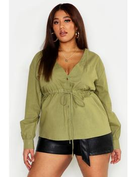 Plus Utility Drawcord V Neck Blouse by Boohoo