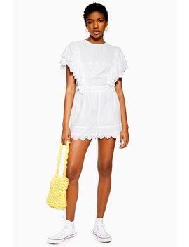 Broderie Flute Sleeve Playsuit by Topshop