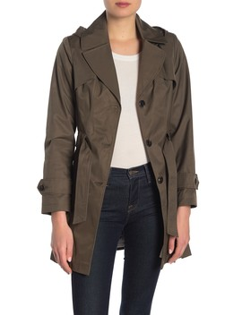 Pleated Hooded Trench Coat by Via Spiga