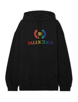 Laurier Oversized Embroidered Cotton Jersey Hoodie by Balenciaga