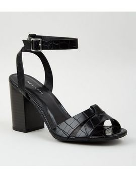 Black Faux Croc 2 Part Block Heels by New Look