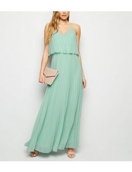Light Green Pleated Layered Maxi Dress by New Look