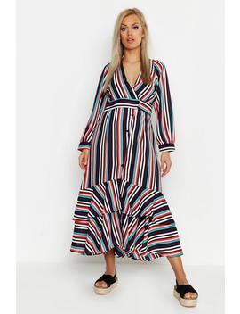 Plus Stripe Ruffle Hem Button Up Maxi Dress by Boohoo