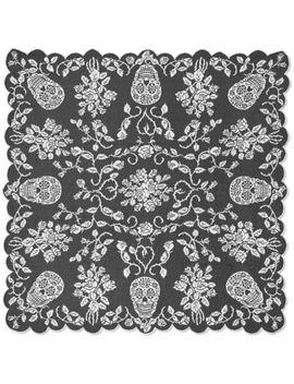 Heritage Lace Sugar Skulls Table Topper In Pewter by Bed Bath And Beyond