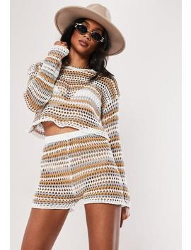 White Tonal Stripe Crochet Co Ord Shorts by Missguided