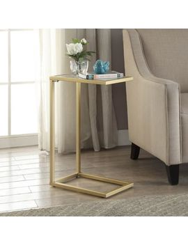 Carolina Cottage Ansley Computer Tray Table With Glass Top In Gold by Bed Bath And Beyond