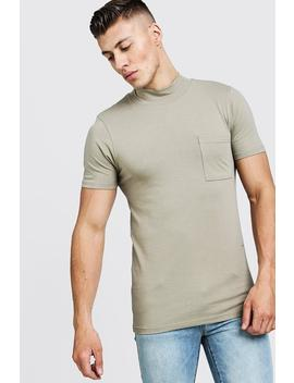 Muscle Fit T Shirt With Extended Neck by Boohoo