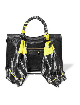 Classic City Aj Printed Silk Twill Trimmed Textured Leather Tote by Balenciaga