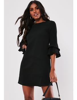 Black Frill Sleeve Shift Dress by Missguided