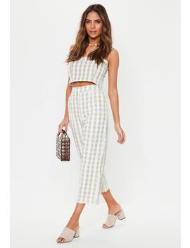 Stone Gingham Co Ord Culottes by Missguided
