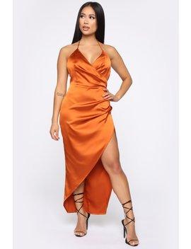 A Little Bit Of Sass Satin Midi Dress   Rust by Fashion Nova