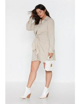 Knot Detail Ruched Shirt Dress by Nasty Gal