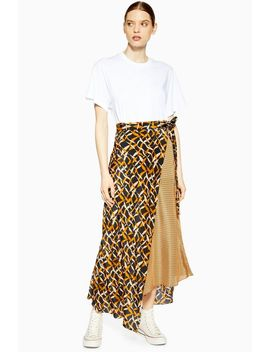 **Geometric Print Silk Skirt By Boutique by Topshop