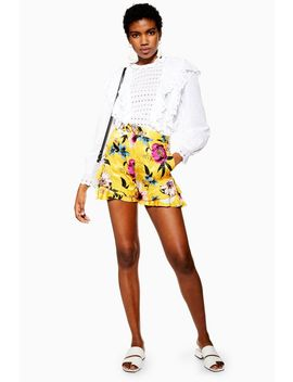 Yellow Floral Shorts by Topshop