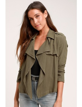 Carlow Olive Green Jacket by Lulus