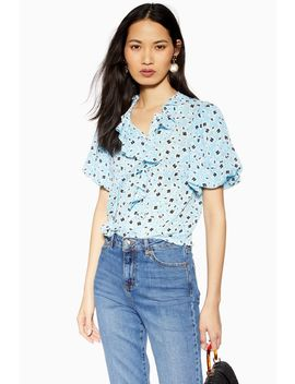 Blue Floral Ruffle Tea Top by Topshop