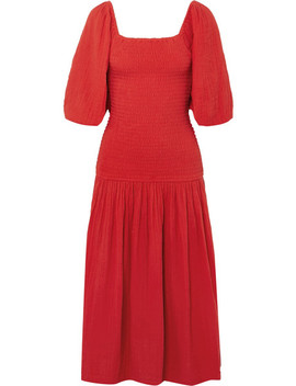 Harper Smocked Cotton Gauze Midi Dress by Rhode