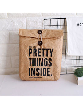 New Paper Lunch Bag Reusable Box Sack Durable Insulated Thermal Kraft Paper Bag by Ebay Seller