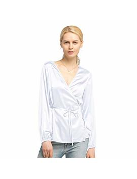 Lily Silk Silk Wrap Blouse For Women And Ladies Sexy V Neck 19 Mm With Tie Elastic Cuffs Long Sleeve by Lily Silk