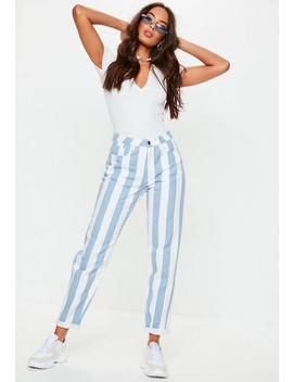 Blue Stripe Plain Riot Jeans by Missguided