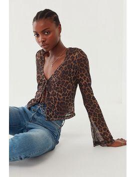 Motel Leopard Print Pique Tie Front Blouse by Motel