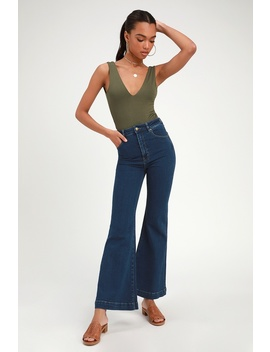 Eastcoast Flare Dark Wash High Rise Jeans by Rolla's