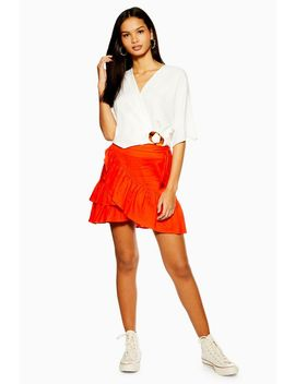 Red Linen Rich Wrap Mini Skirt by Topshop