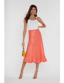 Sleek At The Knees Satin Midi Skirt by Nasty Gal