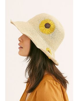 Daisy Embroidered Straw Bucket Hat by Free People