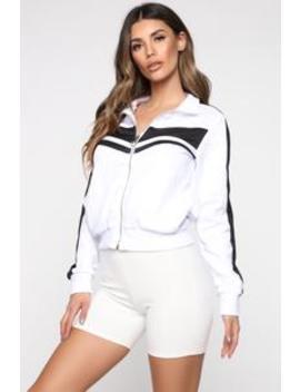 She Knows Best Track Jacket   White by Fashion Nova