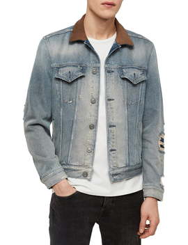 Iren Slim Fit Denim Jacket With Leather Collar by Allsaints