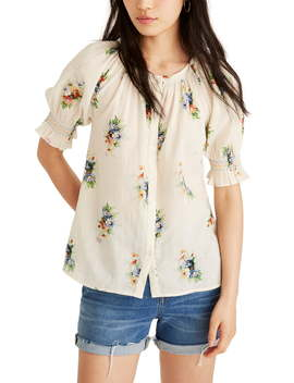 Classic Corsage Smocked Button Down Top by Madewell