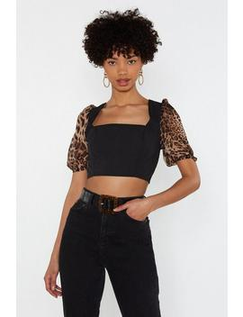 Leopard Puff Sleeve Crop Top by Nasty Gal