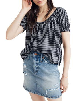 Texture & Thread Stripe Peasant Top by Madewell