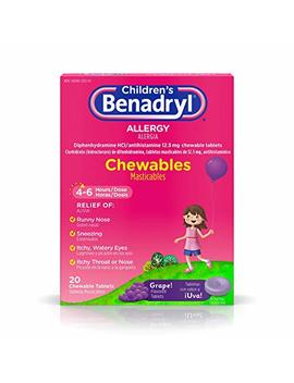 Children's Benadryl Allergy Chewables With Diphenhydramine H Cl Antihistamine, Grape Flavor, 20 Ct by Benadryl