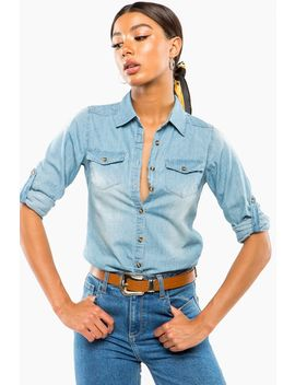 Front Pocket Chambray Shirt by A'gaci