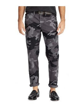 Grey Camo Straight Fit Flat Front Stretch Twill Chino Pants by Polo Ralph Lauren