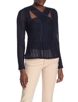 Long Sleeve Striped Lace Top by Bcbg