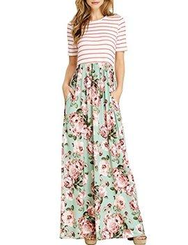 Merokeety Women's Striped Short Sleeve Floral Print Summer High Waist Pockets Maxi Dress by Merokeety