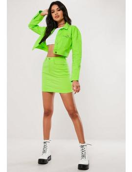 Neon Green Co Ord Cropped Denim Jacket by Missguided