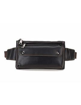 Loyofun Unisex Brown Genuine Leather Waist Bag Messenger Fanny Pack Bum Bag For Men Women Travel Sports Running Hiking by Loyofun