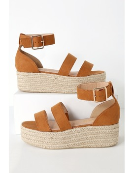 Believe It Camel Suede Espadrille Platform Sandals by Lulu's