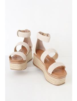 Zella Ecru Nubuck Espadrille Flatform Sandals by Chinese Laundry