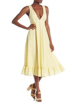 Ali Striped Ruffle Hem Dress by Line & Dot