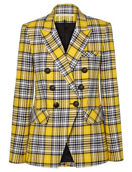 Miller Dickey Checked Cotton Blend Blazer by Veronica Beard