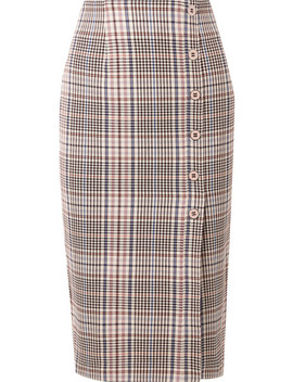 Melor Checked Cotton Blend Midi Skirt by Veronica Beard