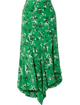 Mac Asymmetric Floral Print Silk Blend Midi Skirt by Veronica Beard