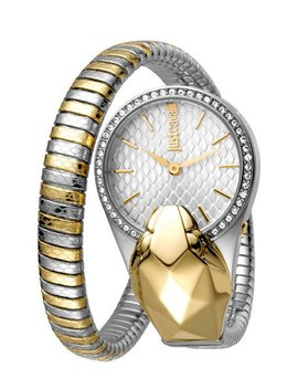 26mm Glam Chic Coiled Snake Watch, Steel/Gold by Just Cavalli
