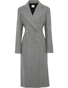 Violet Double Breasted Prince Of Wales Checked Wool Blend Coat by Khaite